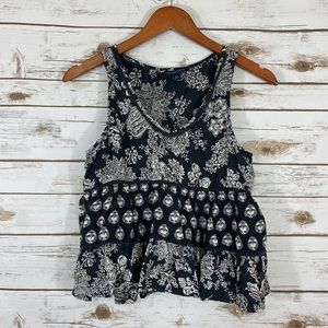 American Eagle Ruffled Tier Floral Tank